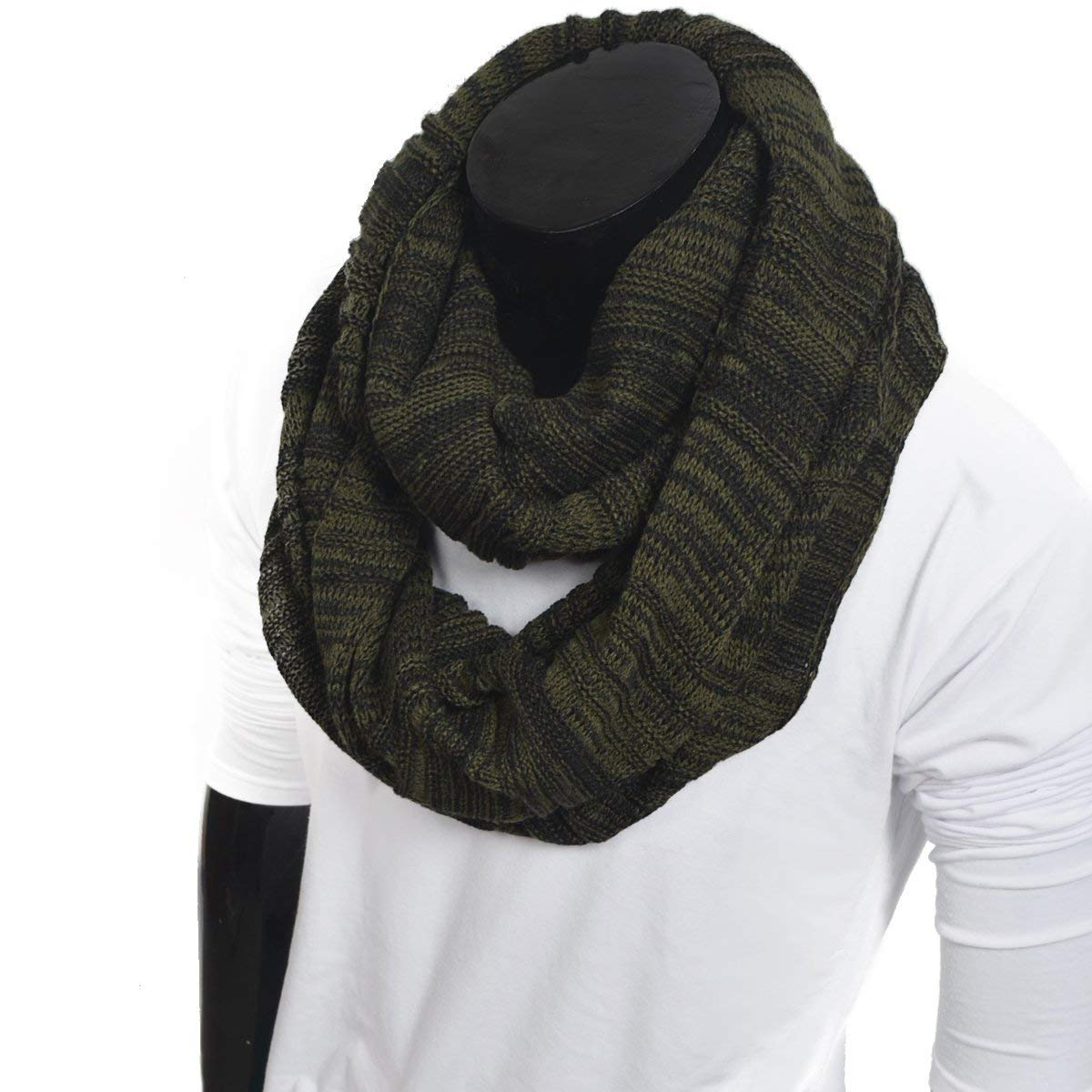 FORBUSITE Chic Men Knit Winter Infinity Scarf Large E5001b-zs