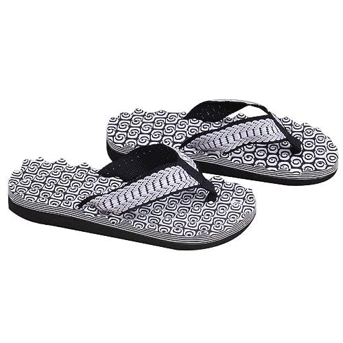 Summer Mimgo Soft Casual Men Flat Wedge Sandals Flip Flops Slippers Beach (Black)