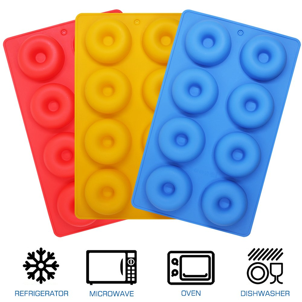 3 Pack Silicone Donut Molds, YuCool 8 Cavity Non-Stick Safe Baking Tray Maker Pan Heat Resistance for Cake Biscuit Bagels Muffins - Red, Blue, Yellow by YuCool (Image #5)