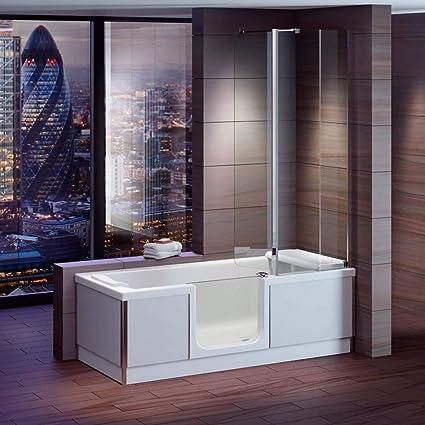 Bañera con puerta, senior bañera 180 x 80 x 57,5 cm con cabina de ducha, delantal y desagüe de bañera/Sifon, acabado Izquierda: Amazon.es: Bricolaje y herramientas