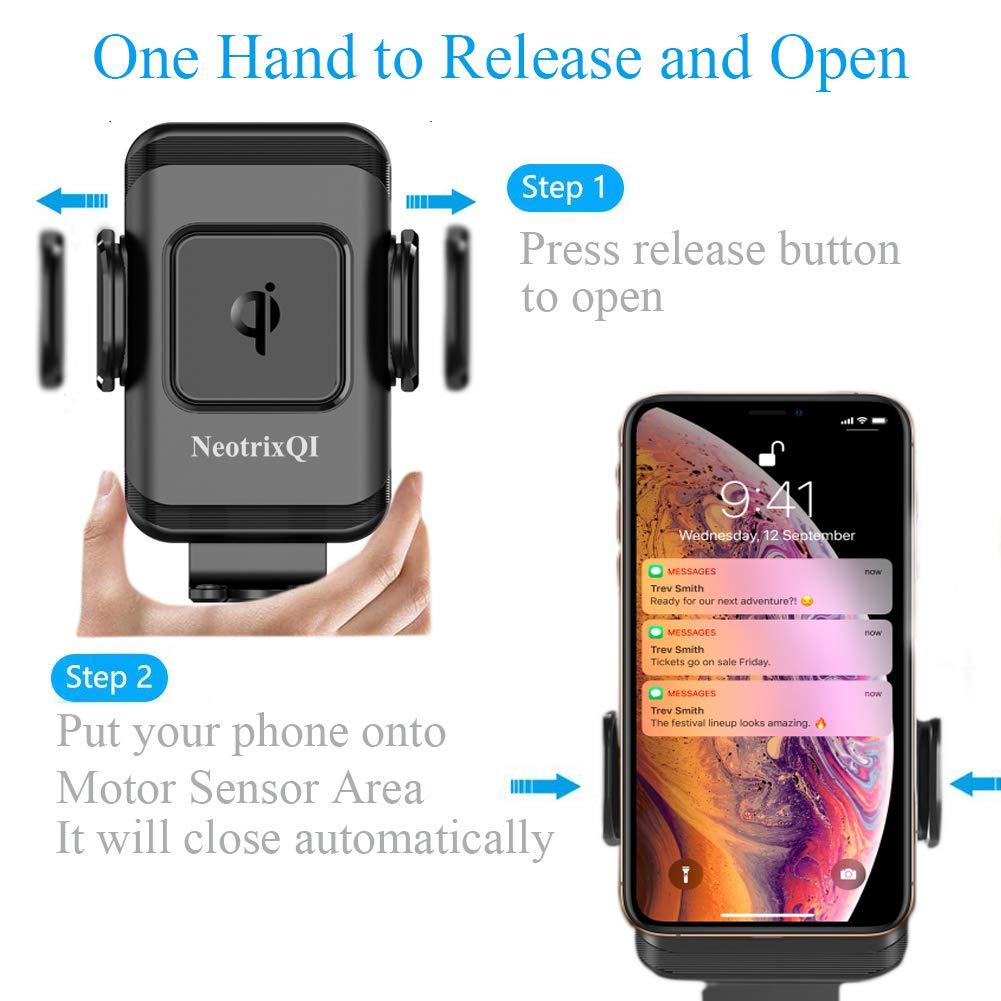 Nero NeotrixQI HUK-3CWCC Caricatore telefonico auto wireless automatico per iPhone XR XS x 8 Plus Samsung Galaxy S8 S9 Plus