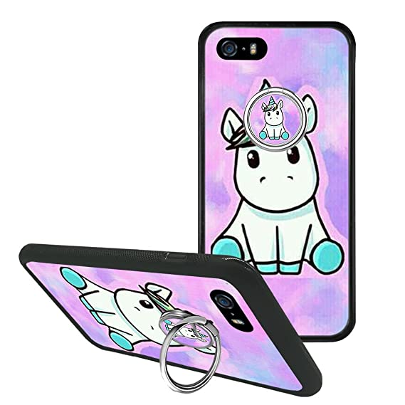 separation shoes 0d9cc e1f02 iPhone 5s 5 Case, iPhone SE Funny Unicorn Case Cover with Ring 360 Rotating  Pop Phone Grip Stand Holder