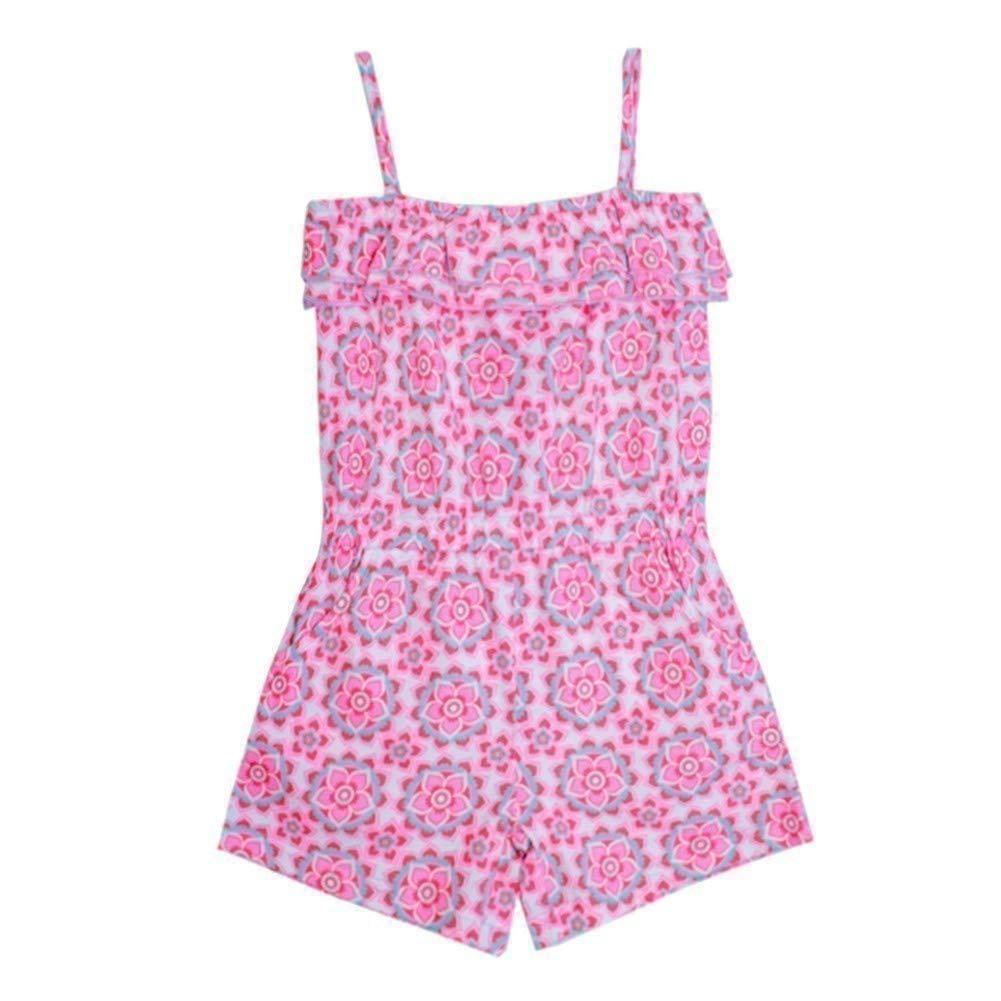 Girls Pink Little Floral Pattern Spaghetti Strap Ruffle Overlay Romper 2T