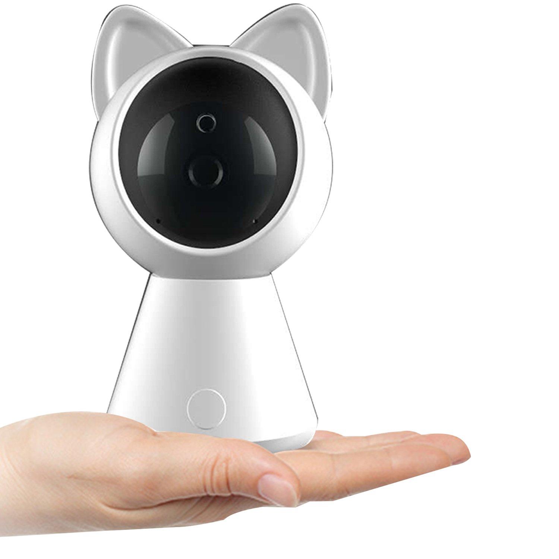 ネットワークカメラ スピーカーマイク内臓 暗視撮影 IPカメラ ペット子供見守り スマホ パソコン対応 B078MZ4574  ホワイト 1080p