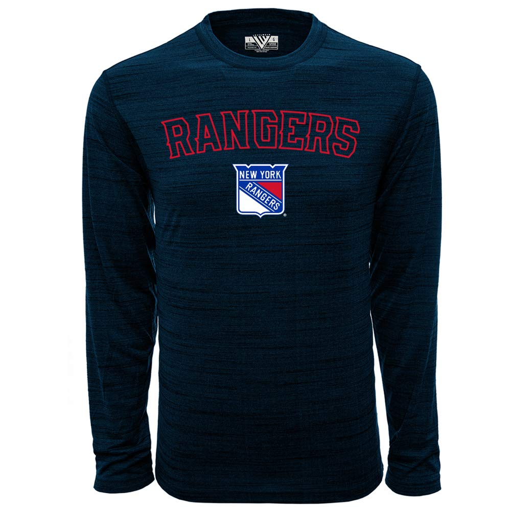 Heather Navy NHL New York Rangers Mens Anchor Arched Outline Mens Long Sleeve Tee Small