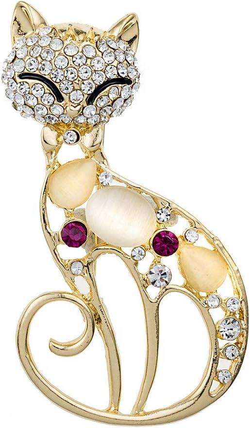Damen Katze Opal Strass Brosche Gold