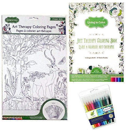 Art Therapy Lost In The Forest Coloring Book - Safari Coloring Page Posters and 12 Color Factory Fine Tip Markers Living In Color -