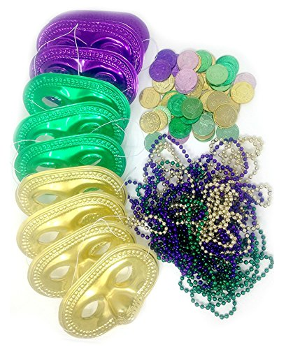 Mardi Gras Party Favor Set With Masks, Bead Necklaces, and Coins (Strand Venetian Necklace)