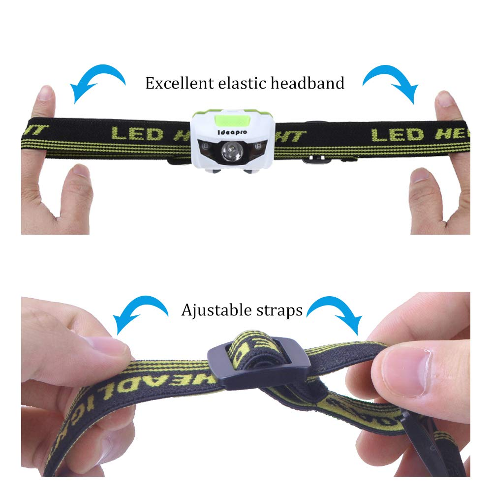 Ideapro LED Headlamp, 4 Lighting Modes Headlight, Battery Powered Headlamp Flashlight Brightest and Lightweight, Waterproof with Adjustable Headband and Flashing SOS Light for Camping Running 2 Pack by Ideapro (Image #6)