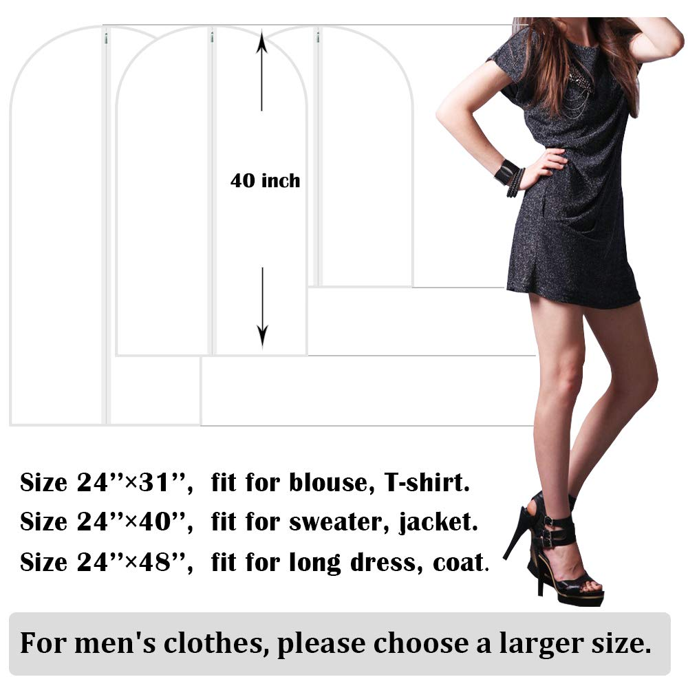 32-inch Hanging Suit Cover Breathable Garment Bag with Big Clear Window Adalite Garment Bag Black Pack of 6