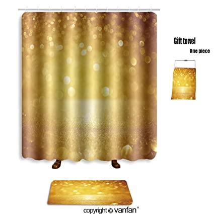 Vanfan Bath Sets With Polyester Rugs And Shower Curtain Glitter Vintage Lights Background Gold Silver