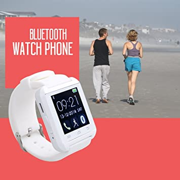 Flylinktech® U8 Plus whatsapp smartwatch Reloj inteligente táctil compatible con Android e iOS Bluetooth 4.0 (blanco): Amazon.es: Electrónica