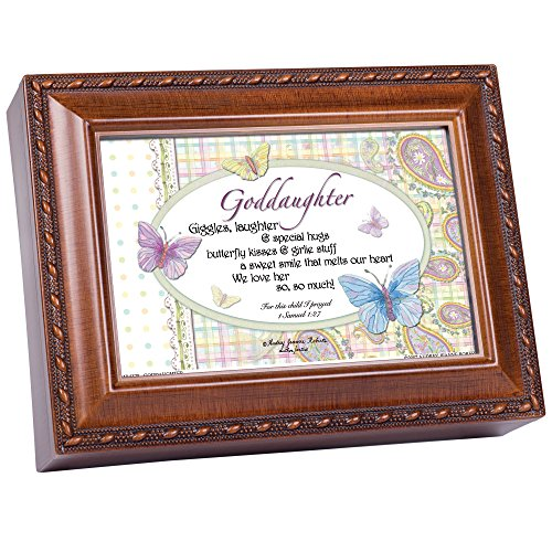 Cottage Garden Goddaughter Woodgrain Inspirational Traditional Music Box Plays Jesus Loves Me