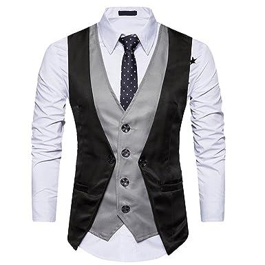 Rera Homme Costume Gilet Boutonnée Veste Patchwork Slim Fit sans Manches  Longue Col V Soirée Businesse de9a74b82c4