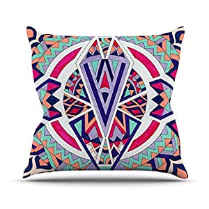 """Kess InHouse Pom Graphic Design """"Abstract Journey"""" Circular Tribal Outdoor Throw Pillow, 18"""" x 18"""""""