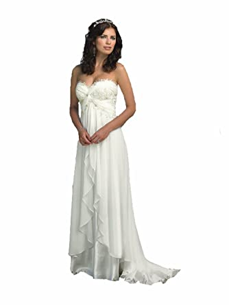 68bf331b4ed0 Zhu Li Ya Women's Chiffon Lace Beach Wedding Dresses Prom Bridal Gowns (XS,  Ivory