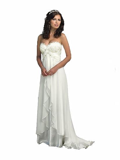 Zhu Li Ya Womens Chiffon Lace Beach Wedding Dresses Prom Bridal