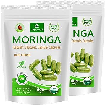 Moringa 240 oleifera veggie altas dosis de 600mg cápsulas - 100% de alimentos