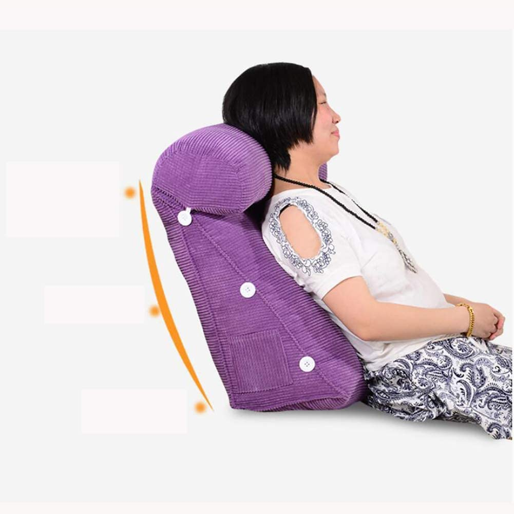 Plush adjustable soft reading pillow back cushion sofa backrest rest pillow back pain relief-Brown 45x45cm 18x18inch HMWPB-KD Triangle back wedge cushion pillow