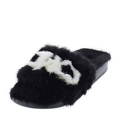 7bc0d433f758 Salvatore Ferragamo Womens Groove Mink Fur Slide Slippers B W 5 Medium (B