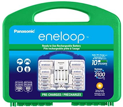 Panasonic KJ17MCC82A eneloop Power Pack, 8AA, 2AAA, 2 C Adapters, 2 D Adapters, Advanced Individual Battery Charger and Plastic Storage Case (case ...