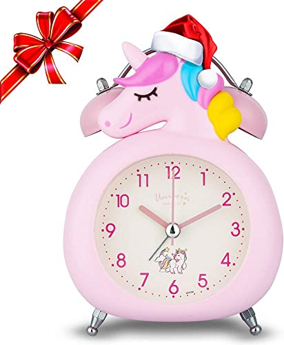 KOROTUS COLLECTION Unicorn Alarm Clock for Girls, for Kids and Teen Loud Bell and Button Night Light for Heavy Sleepers Pink