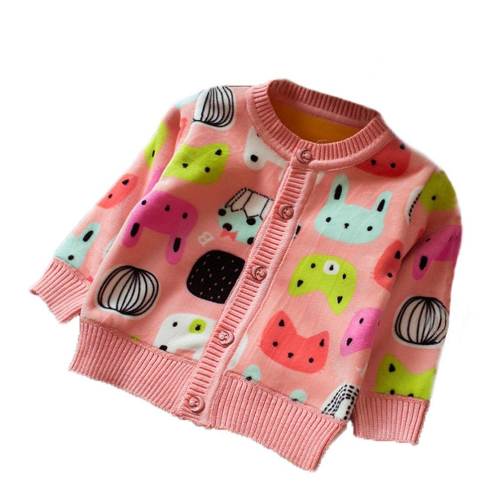 Zhuannian Baby Girls Carton Fleece Cardigan Button Sweaters (6-9months, Pink) Fle s p8