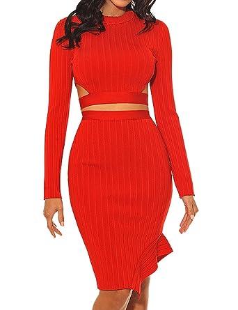 ef1709398f537d Whoinshop Damen Langarm Kleider Bodycon Kleid Zweiteilig Figurbetontes  PartyKleid Cocktailkleid mit Schnüren Hülsen (XS,