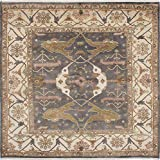 "Ecarpetgallery ECG1-223514 Hand-knotted Royal Ushak Medallion 7'11"" x 8'1"" Grey 100% Wool area rug"