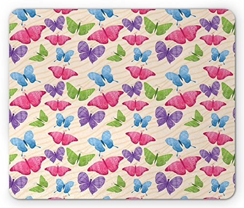 Modern Mouse Pad by Ambesonne, Cute Colorful Butterflies in Vibrant Tones Mothes Spiritual Wings Kids Girls Design, Standard Size Rectangle Non-Slip Rubber Mousepad, Multicolor