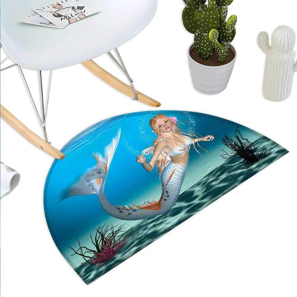 color04 H 51.1  xD 76.7  Mermaid Semicircle Doormat Hand Drawn Mermaid on Ornate Mandala Backdrop Fantasy Design Halfmoon doormats H 27.5  xD 41.3  Jade Green Dark Green purple bluee