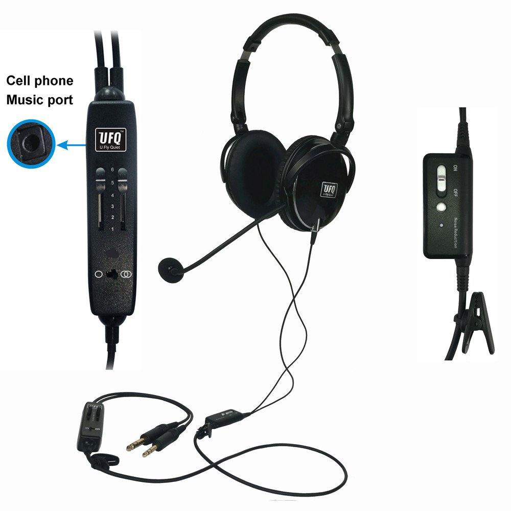 UFQ A6 ANR Aviation Headset-the Lightest ANR Aviation Headset in the World More Comfortable Clear Communication Great Sound Quality for Music with MP3 Input Free With A Good Quality Pilot Headset Bag