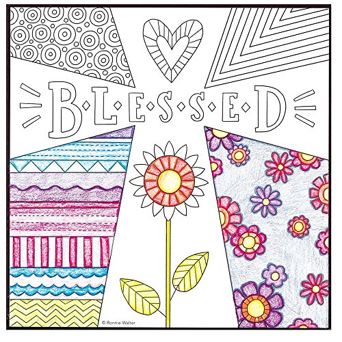 Dicksons Blessed Flower With Heart Coloring Page Design 8 x 8 Wood Wall Sign Plaque