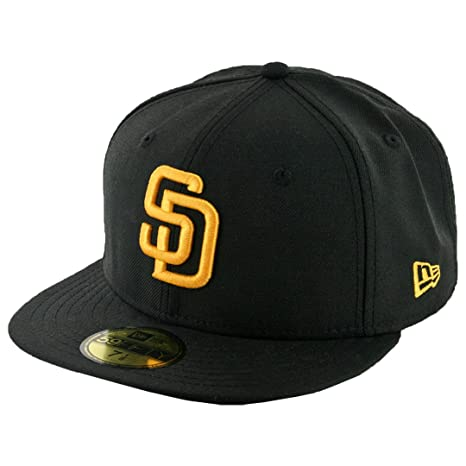 Amazon.com   New Era 59Fifty San Diego Padres Fitted Hat (Black Gold ... 68180fb206a