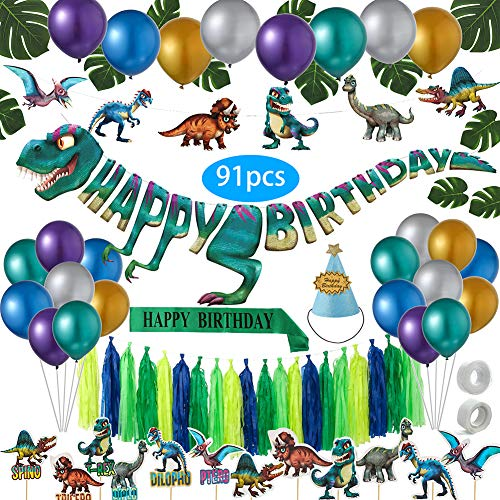 T Rex Party Supplies (91 Pack Dinosaur Party Supplies | Huge T-rex Banner and Dino Party Decorations Set for Kids | Jurassic World Themed Birthday Party or Baby Shower party| Set of 91 Premium)