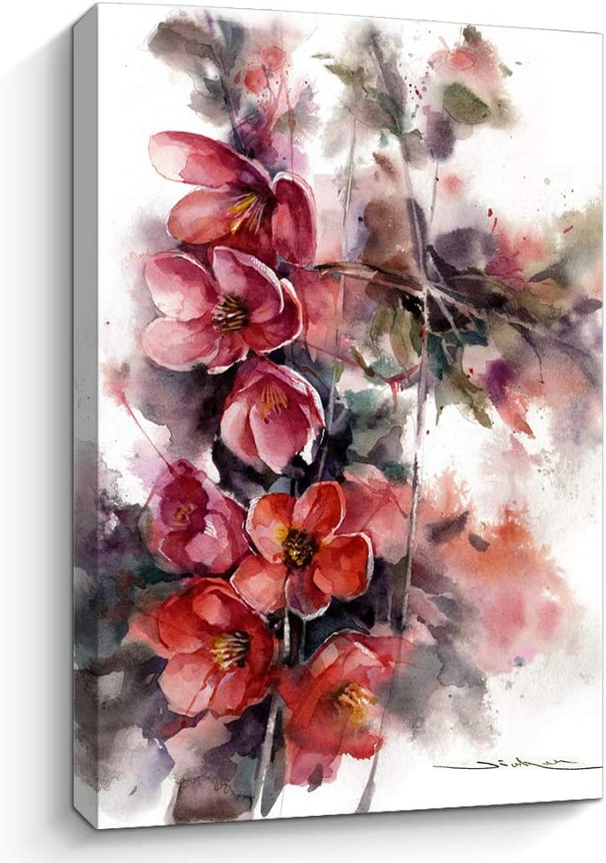 Flower Canvas Wall Art Picture: Watercolor Floral Artwork Painting on Canvas for Bedroom bathroom art floral canvas wall art bathroom wall pictures for living room (E,12