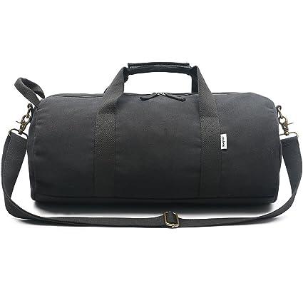 bdfe16bbb59b Amazon.com: Ybriefbag Unisex Solid Color Canvas Men's Travel Bag ...