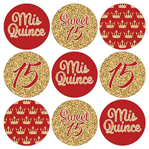 Quinceanera Party Favor Labels | Red and Gold | 180 Stickers