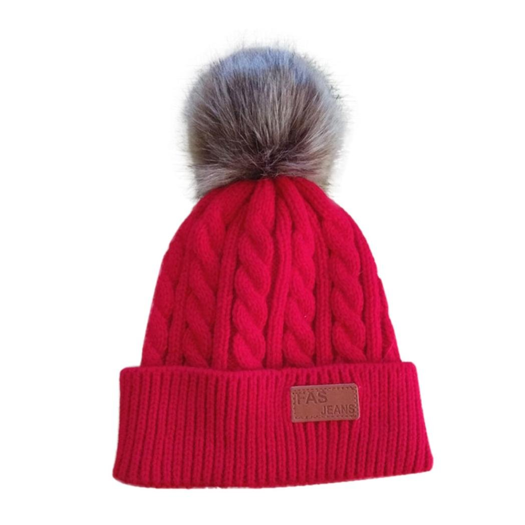 Dumanfs Winter 3-12 Years Old Girl Solid Hat Flexible Knitted Cotton Cap