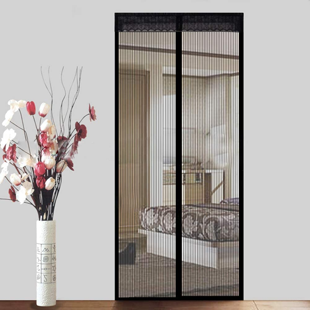 Denavo Magnetic Screen Door Keep Insects Out Mosquito Door Screen Easy to Install Without Drilling Top-to-Bottom Seal Automatically for Balcony Sliding Living Room Childrens Room 110 x220 cm