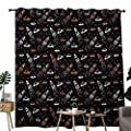 NUOMANAN Blackout Curtains 2 Panels Space,Cartoon Doodle Spacecraft Traveling to The Universe Cosmos UFOs Aliens Stars,Black Orange White,for Room Darkening Panels for Living Room, Bedroom