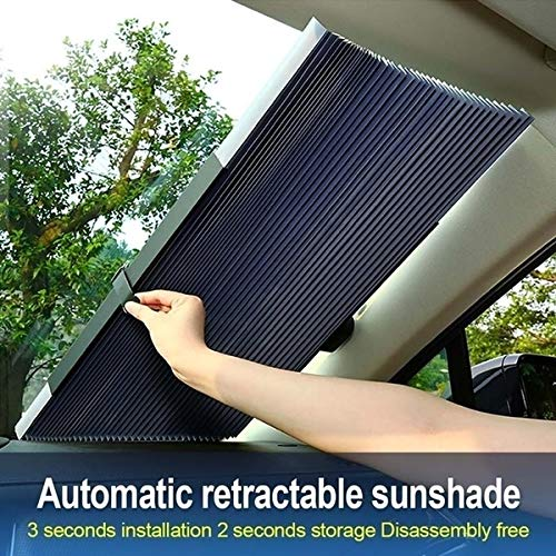 GreceYou Car Retractable Windshield Visor - 70CM Front Windshield Sun Visor Sunscreen Insulation Sun Shield SUV Car Trucks Sunshade Cover Window Film