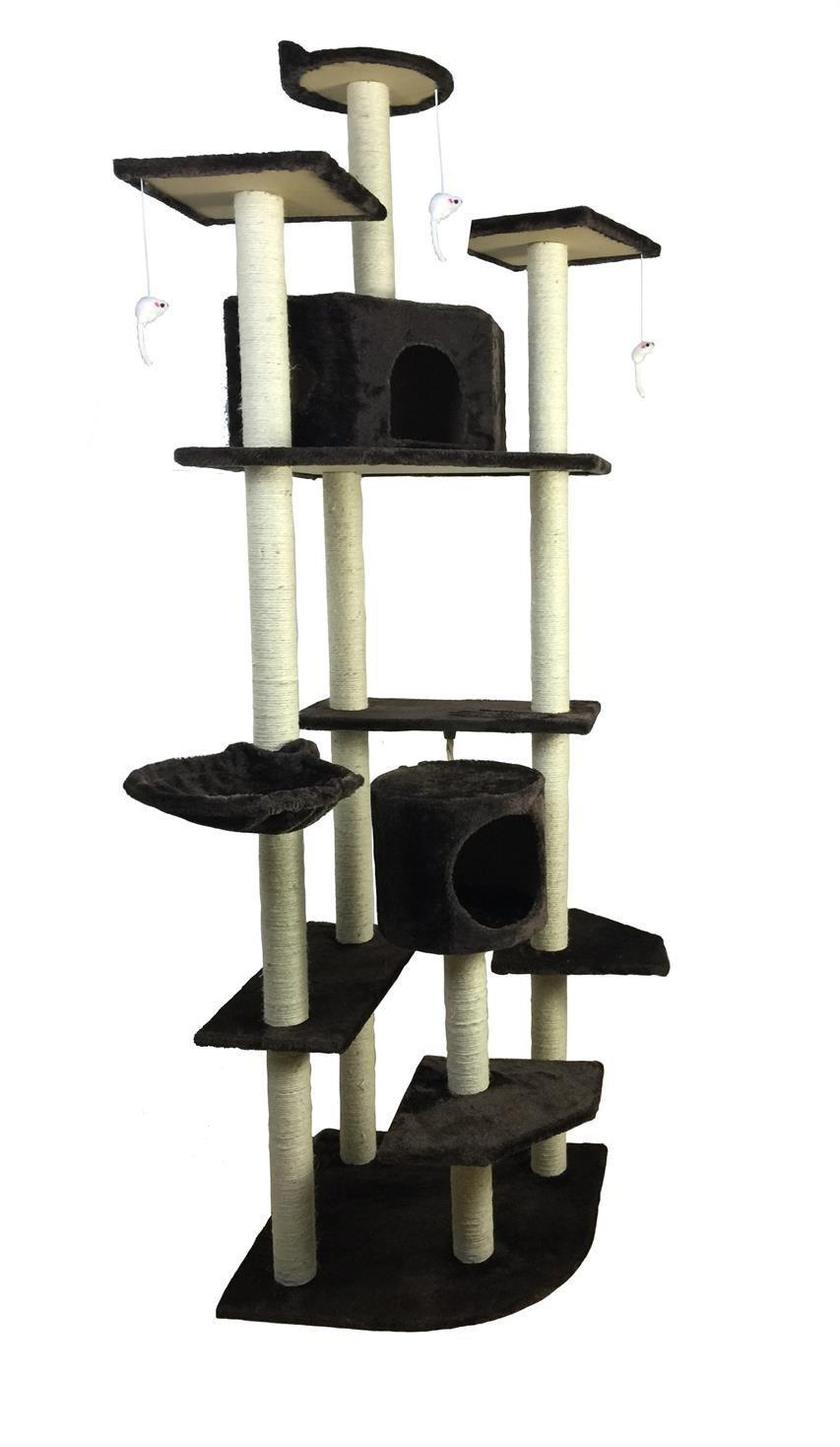 iPet Cat Tree Condo Furniture Cat Scratch Post Pet House, Brown