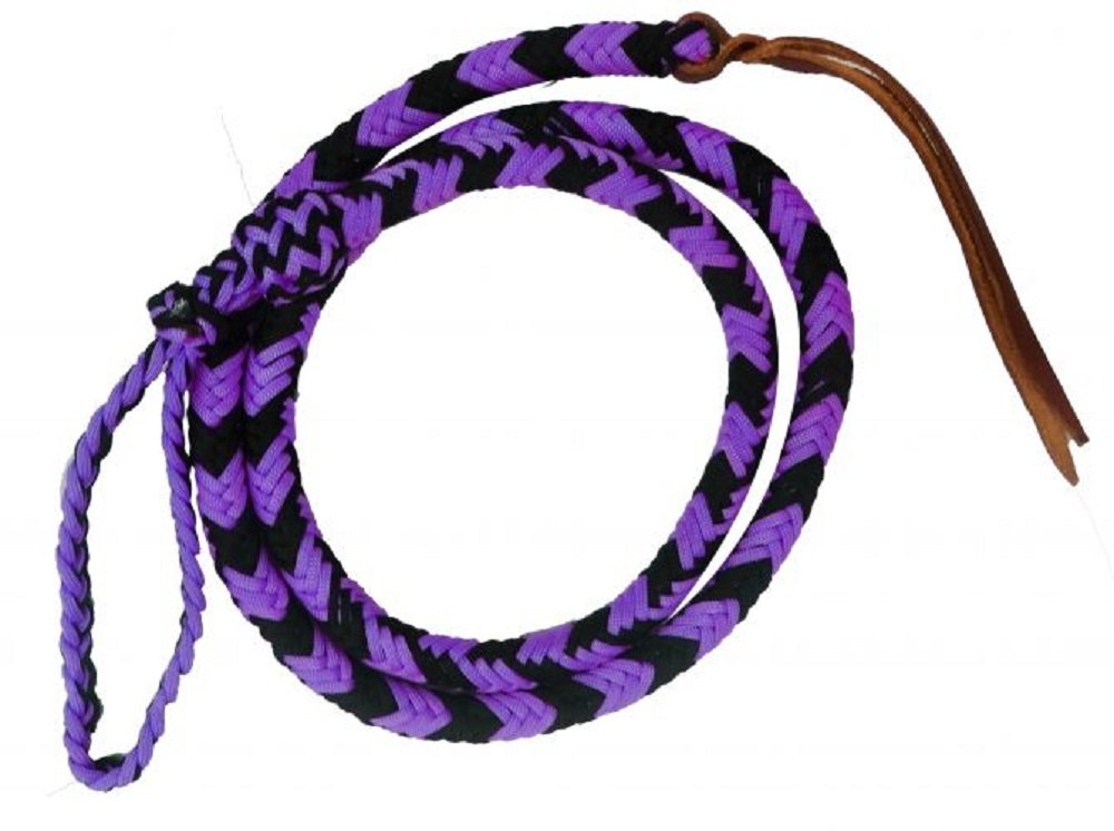 4.5 ' Showman PURPLE & BLACK Soft Durable Braided Nylon Over & Under Leather Poppers Adjustable