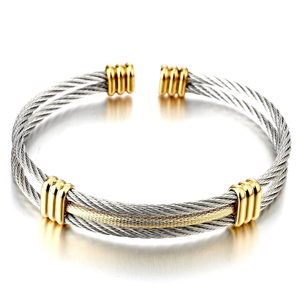 Men Women Stainless Steel Twisted Cable Adjustable Cuff Bangle Bracelet Silver Gold Two Tone MB-1104-CA