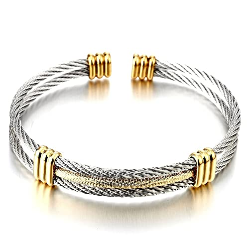 color dp bangle adjustable bracelet polished dragon twisted amazon com steel cable bangles cuff silver elastic mens