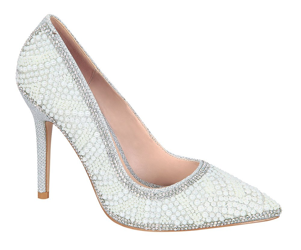 De Blossom Collection Women's Sparkle Pearl Pointed-Toe Pump Silver 7