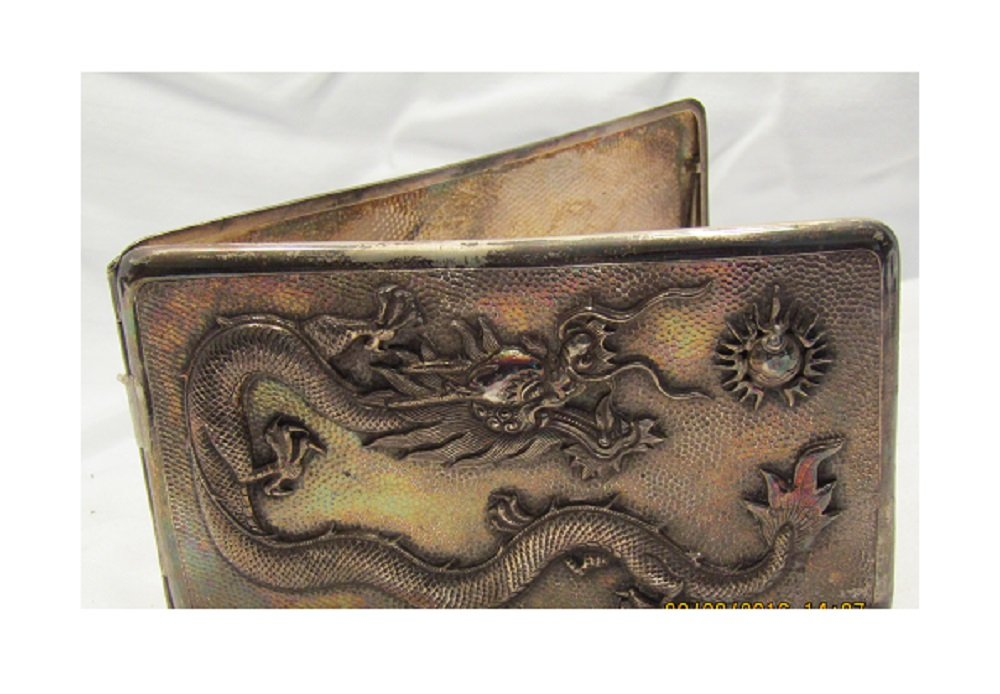 Sterling Silver Repousse Dragon Embossed Cigarette Box Card Case Vintage Rare