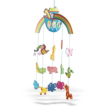 Wooden Noahs Ark With Animals Crib Mobile For Baby Nursery 26 Inch