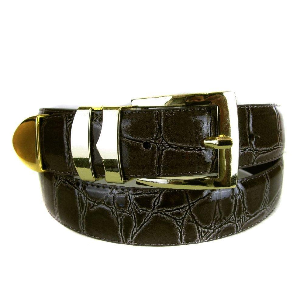 Chocolate Bonded Alligator Skin High Quality Fashion Dress Belt